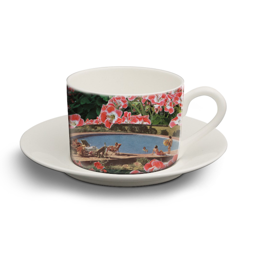 Pink summer flower garden - personalised cup and saucer by Maya Land