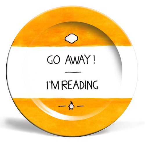 Go Away, I'm Reading - Watercolour Illustration - ceramic dinner plate by A Rose Cast - Karen Murray
