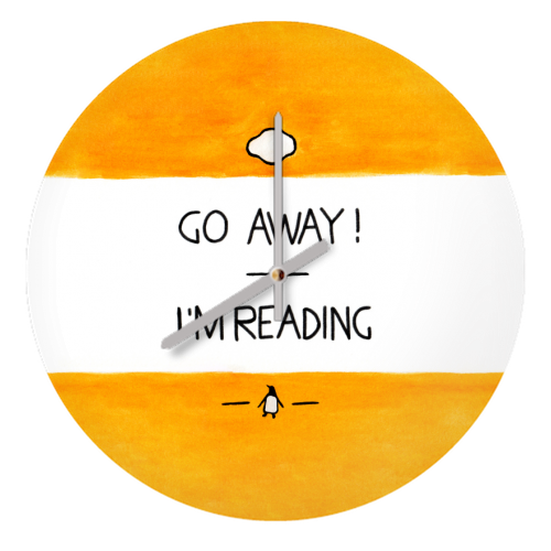 Go Away, I'm Reading - Watercolour Illustration - creative clock by A Rose Cast - Karen Murray