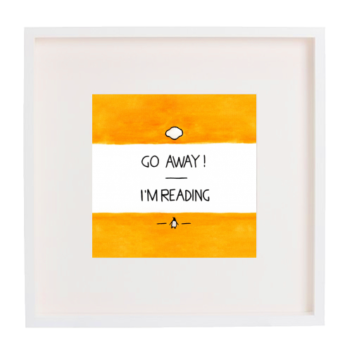 Go Away, I'm Reading - Watercolour Illustration - printed framed picture by A Rose Cast - Karen Murray