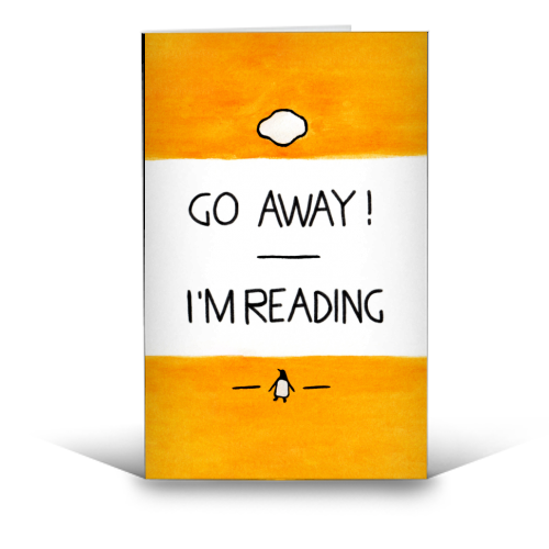 Go Away, I'm Reading - Watercolour Illustration - funny greeting card by A Rose Cast - Karen Murray