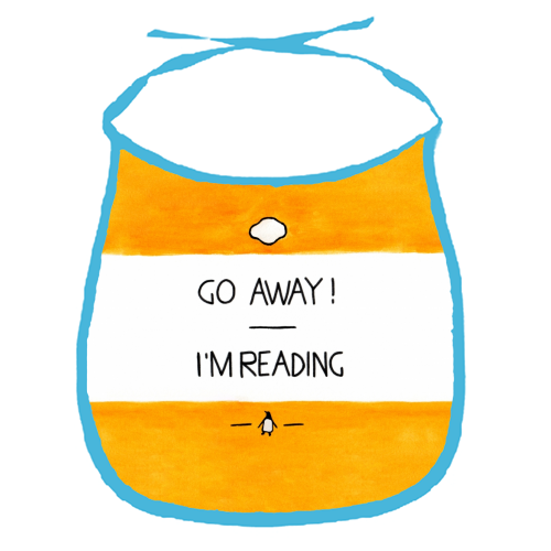 Go Away, I'm Reading - Watercolour Illustration - funny baby bib by A Rose Cast - Karen Murray
