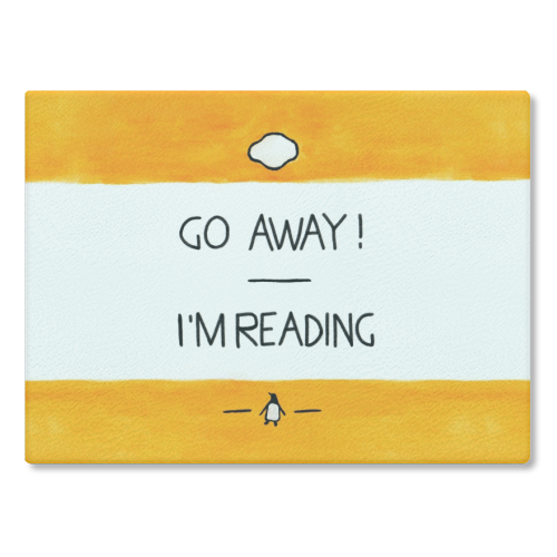 Go Away, I'm Reading - Watercolour Illustration - glass chopping board by A Rose Cast - Karen Murray
