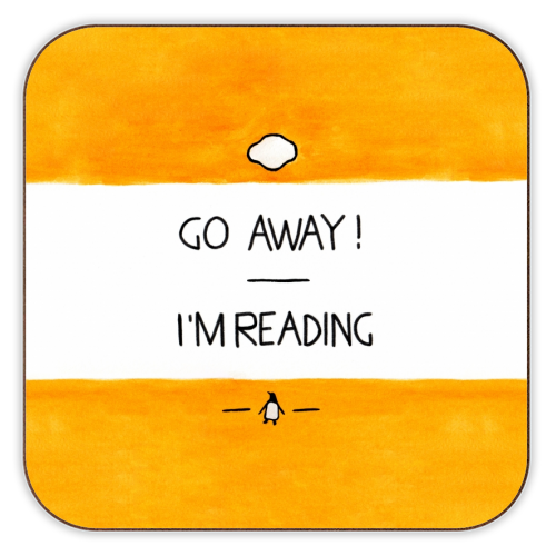 Go Away, I'm Reading - Watercolour Illustration - personalised drink coaster by A Rose Cast - Karen Murray