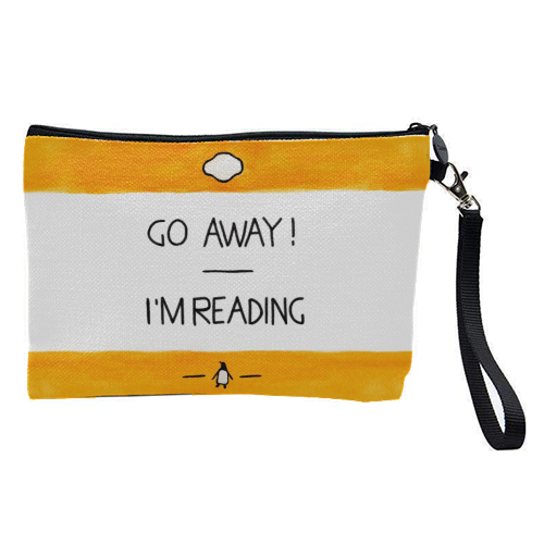 Go Away, I'm Reading - Watercolour Illustration - pretty makeup bag by A Rose Cast - Karen Murray