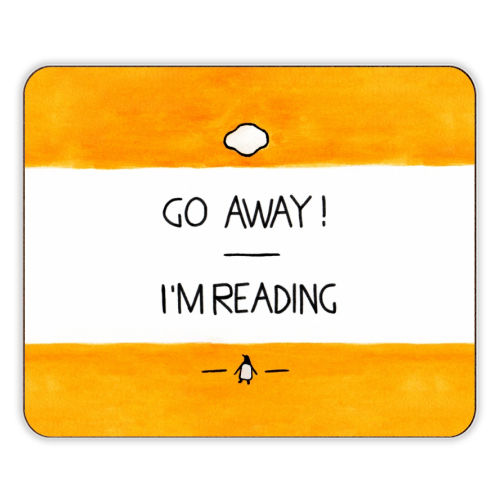 Go Away, I'm Reading - Watercolour Illustration - photo placemat by A Rose Cast - Karen Murray