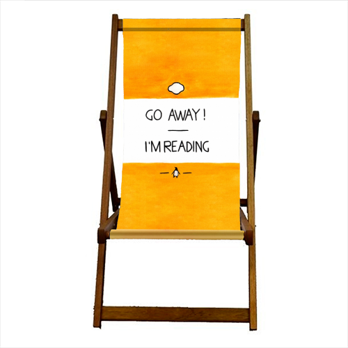 Go Away, I'm Reading - Watercolour Illustration - canvas deck chair by A Rose Cast - Karen Murray