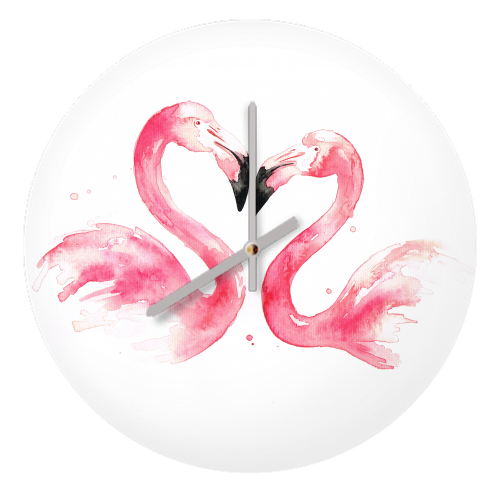 Flamingos - creative clock by Kat Giannini