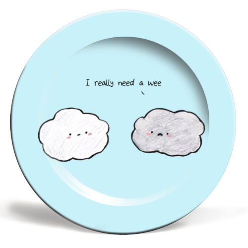 Clouds - ceramic dinner plate by Ellie Bednall