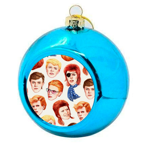 Fabulous Bowie - colourful christmas bauble by Helen Green