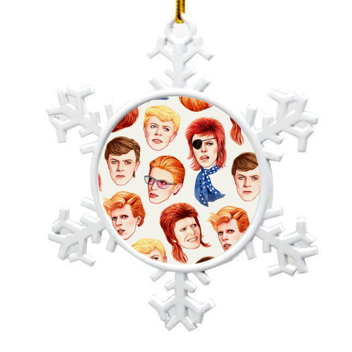 Fabulous Bowie - snowflake decoration by Helen Green