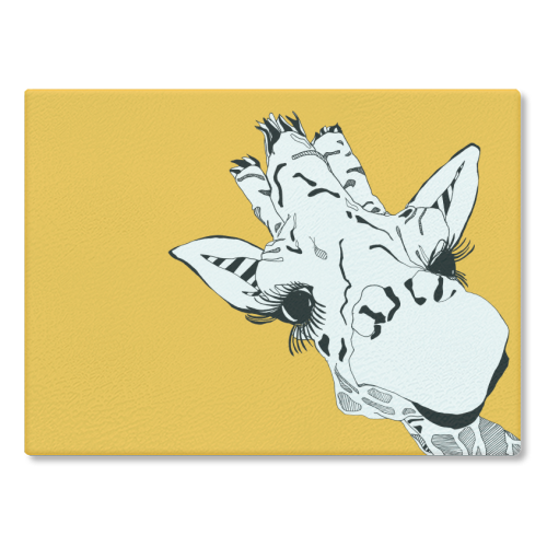Yellow giraffe - glass chopping board by Casey Rogers