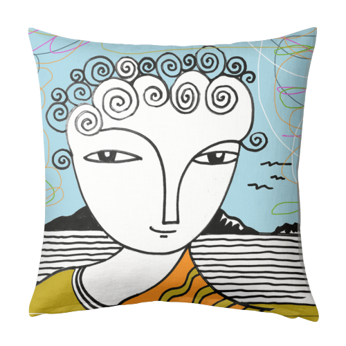 Welsh Girl by the Sea - designed cushion by deborah Withey