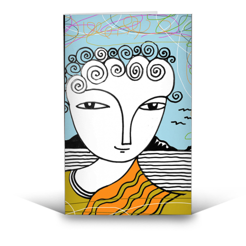 Welsh Girl by the Sea - funny greeting card by deborah Withey
