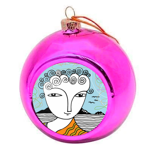 Welsh Girl by the Sea - colourful christmas bauble by deborah Withey