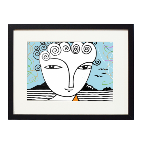 Welsh Girl by the Sea - printed framed picture by deborah Withey