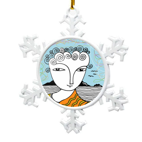 Welsh Girl by the Sea - snowflake decoration by deborah Withey