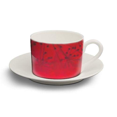 Red  - personalised cup and saucer by Elena Mileva-Krasteva