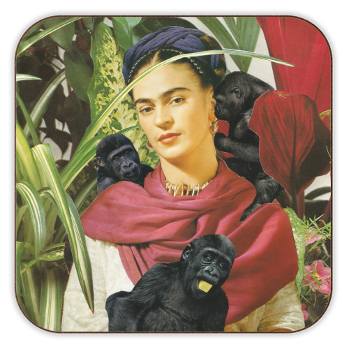 Frida with Monkeys - personalised drink coaster by Maya Land