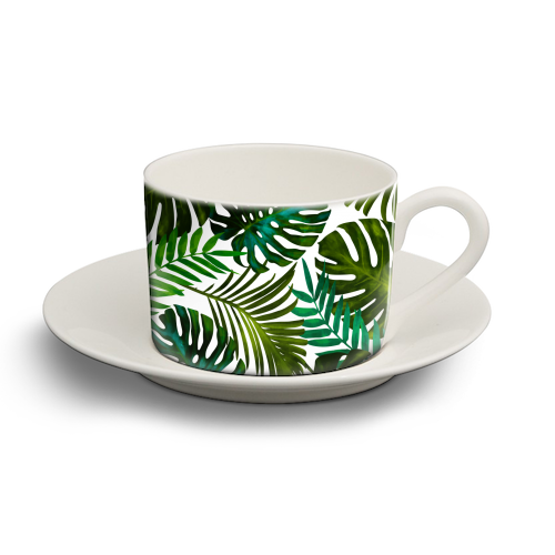 Tropical Dream V2 - personalised cup and saucer by Uma Prabhakar Gokhale