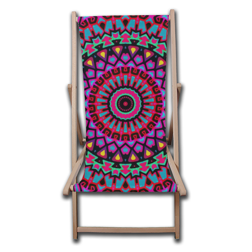 Purple Tribe Psychedelic Mandala - canvas deck chair by Kirsten Star