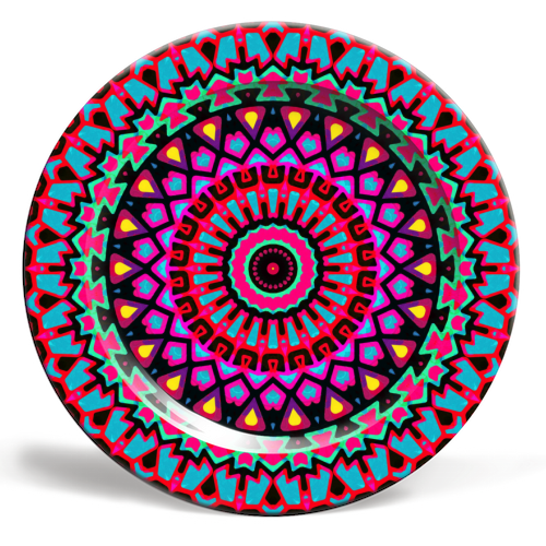 Purple Tribe Psychedelic Mandala - ceramic dinner plate by Kirsten Star