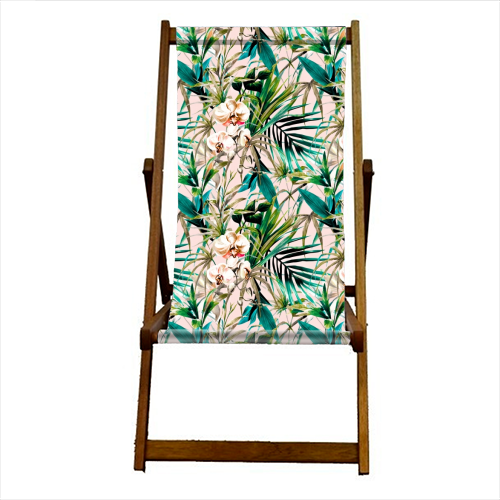 Pattern floral tropical 001 - canvas deck chair by MMarta BC